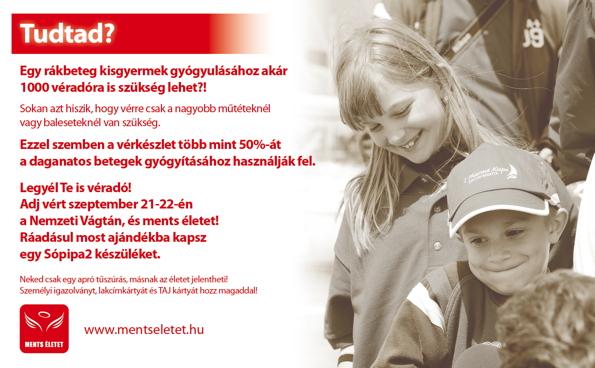 Adj vért a Nemzeti Vágtán és ments meg három életet!